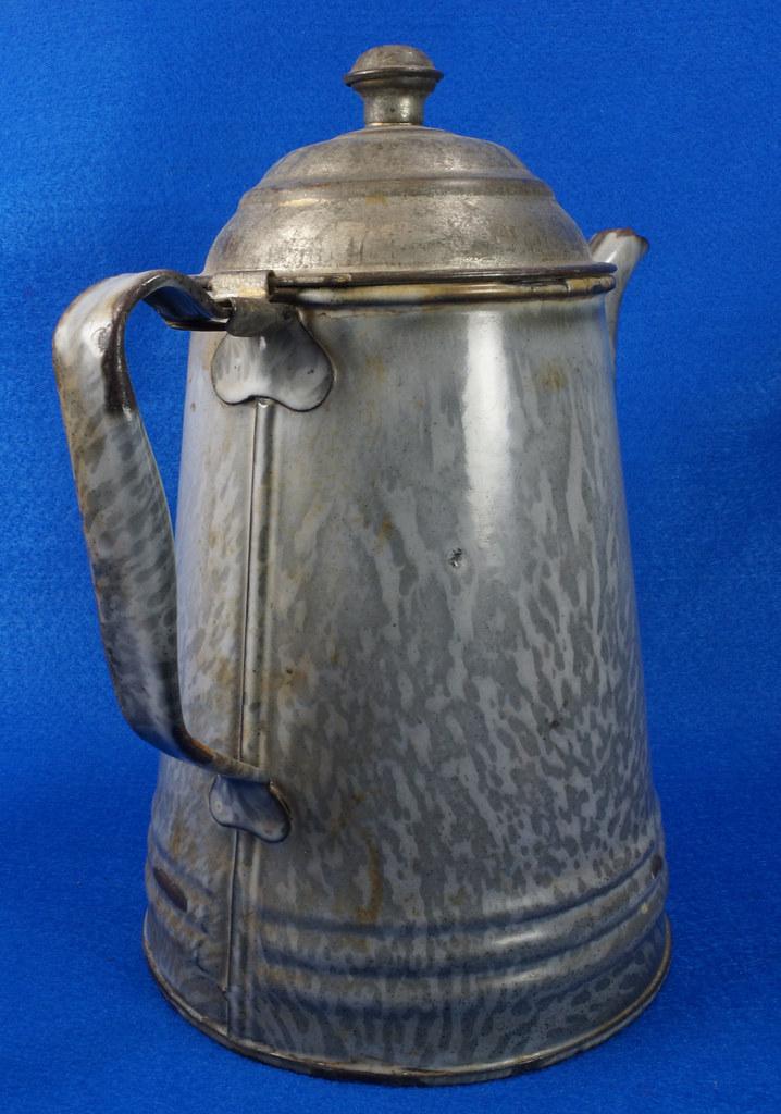 Sold Antique Gray Graniteware Coffee Pot With Gooseneck