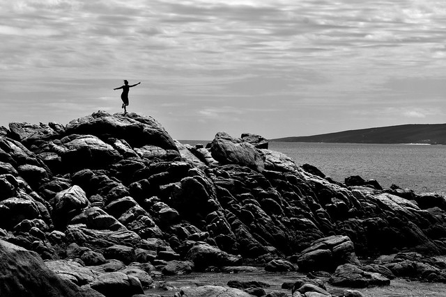Girl on the rocks - candid - A genuinely lucky shot!
