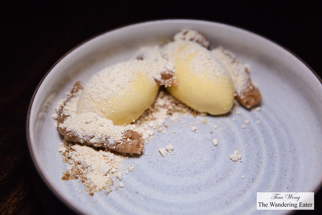 Pumpkin ice cream, caramelized white chocolate, apple