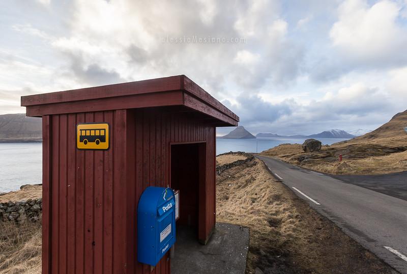 Bus stop in the Faroe Islands