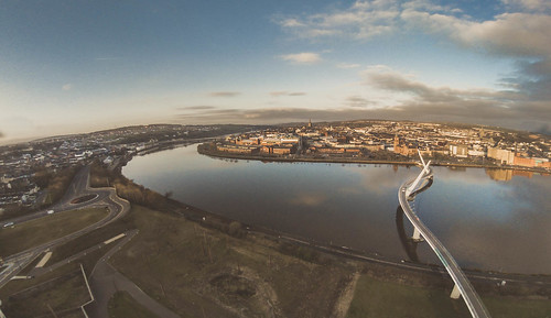 city bridge ireland sunrise reflections river photography peace parrot derry drone peacebridge riverfoyle doire