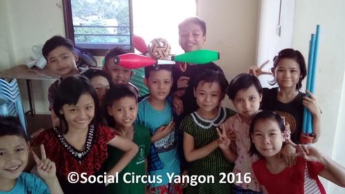 Karen Hostel circus team pose