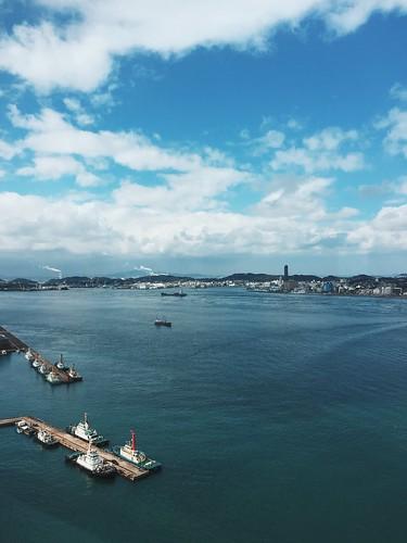 japan landscape harbor fukuoka kyushu kitakyushu observationdeck 門司 moji 下関 kanmon 関門橋 kanmonstrait 北九州市 kanmonkyobridge