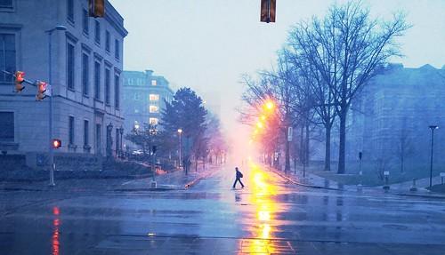 reflection rain cityscape cleveland april urbanlandscape cityscene sleet roccotaco