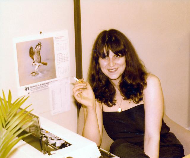 IMG_0015 Melinda Stimson IMS Lycrete Regent Street Piccadilly London Sept 1980 Smoking by her IBM Typewriter