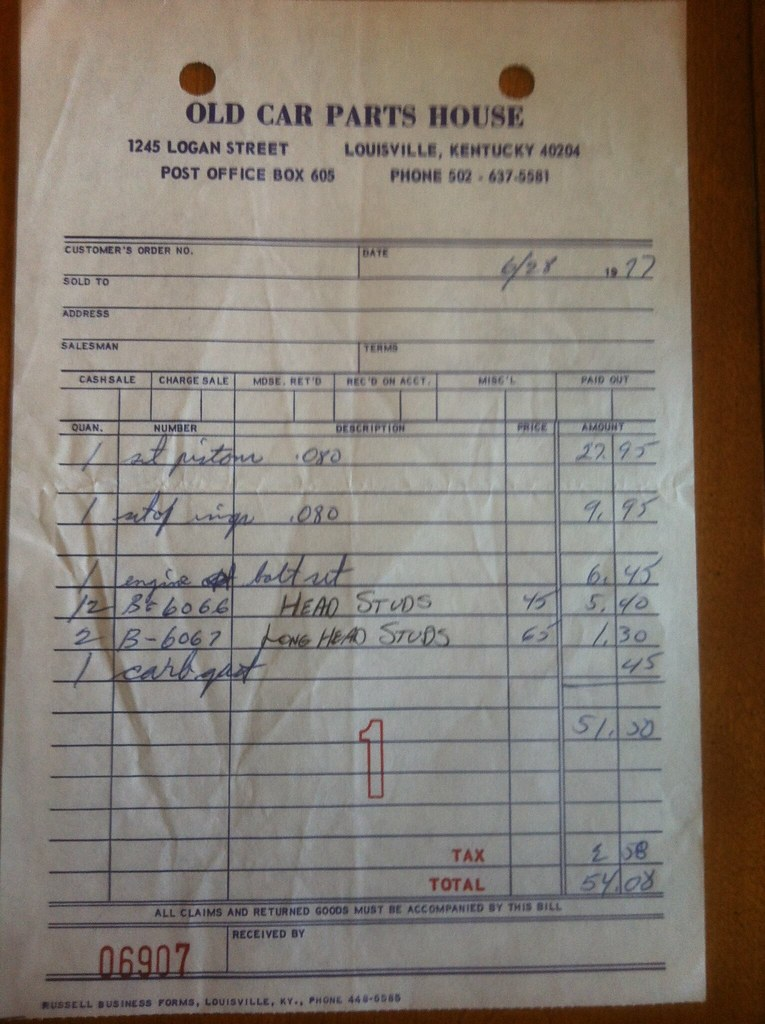 Old Car Parts House Receipt One Of Many Receipts From Old