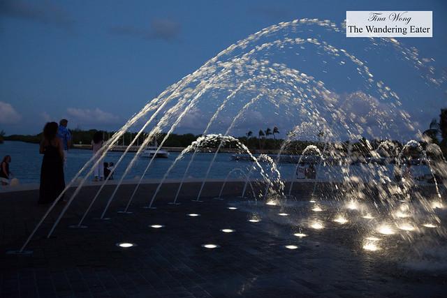 Water fountains at Jasmine Court at Camana Bay