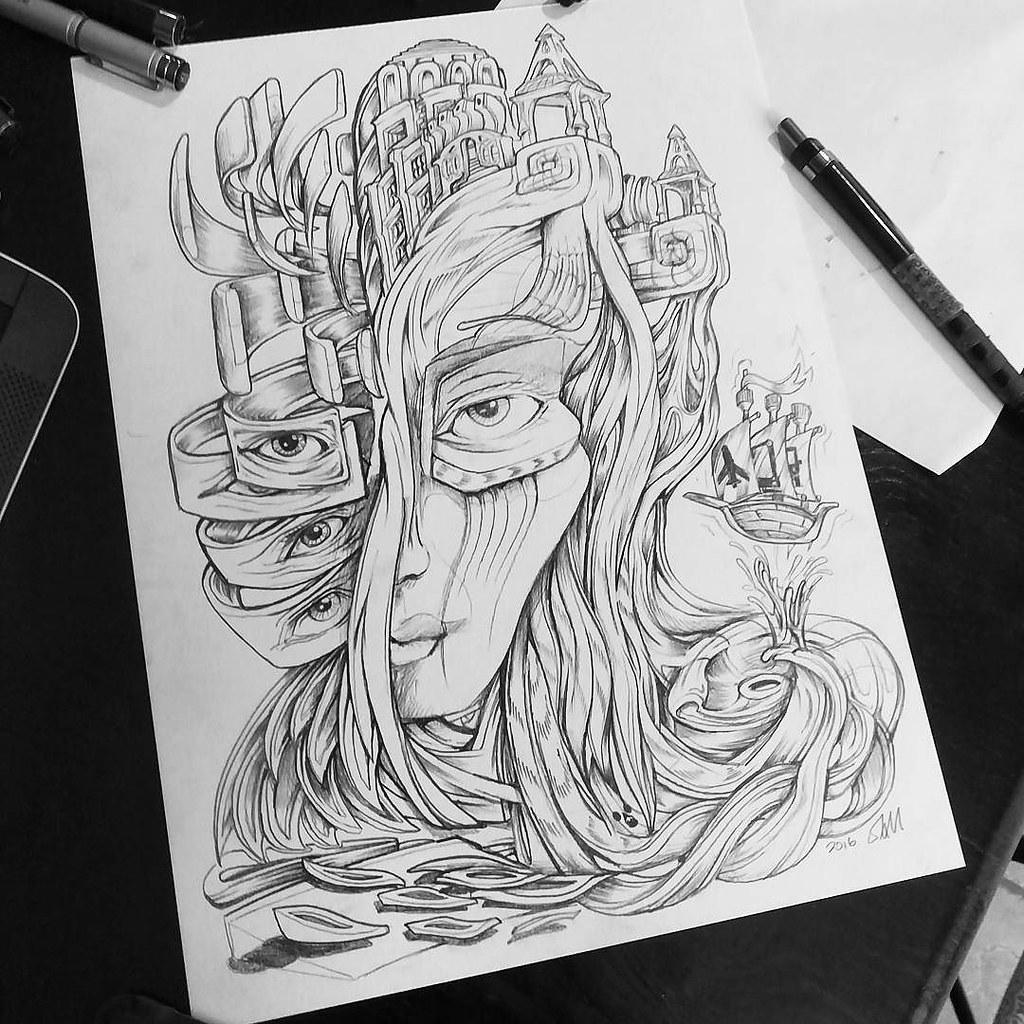 Wanderlust surreal trippy drawing hair flickr