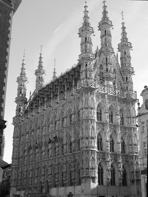 Town Hall in black & white, Leuven, Belgium