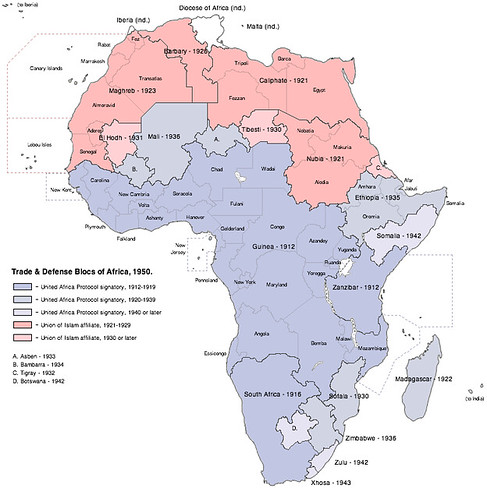 Map Of Africa 1950.Trade Defense Blocs Of Africa 1950 Conworld Full Vers