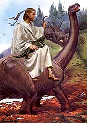 Jesus riding dinosaur