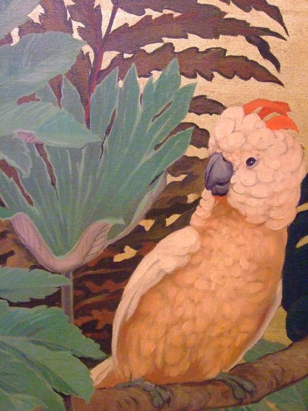 Tropical Birds by Jessie Arms Botke American 1954 oil on textile