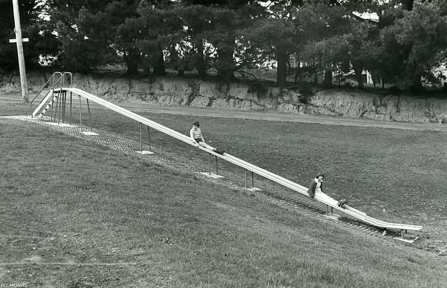 New 40 foot slide, Hudson Street Playground 1977