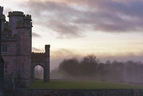 castle fog sunset magic