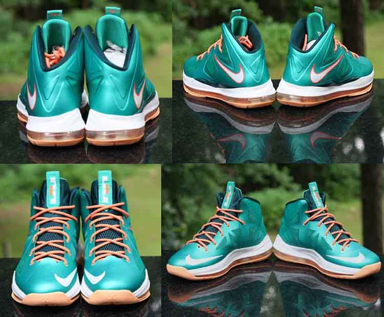 new arrival 8fe3f 6bf2c ... Nike LeBron X 10 Setting Miami Dolphins Atomic Teal Orange 541100-302  Size 6Y