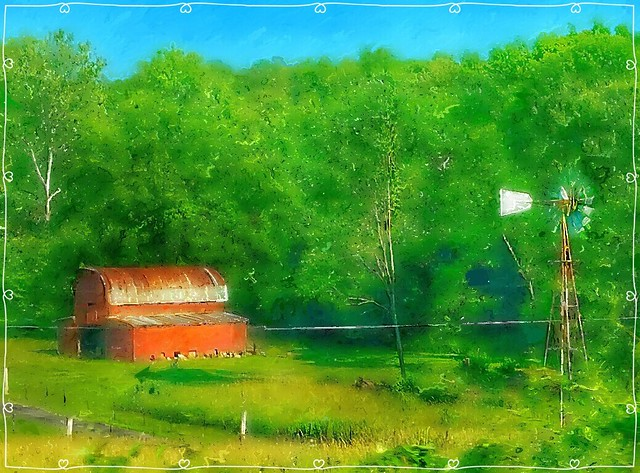 Red barns and windmills....