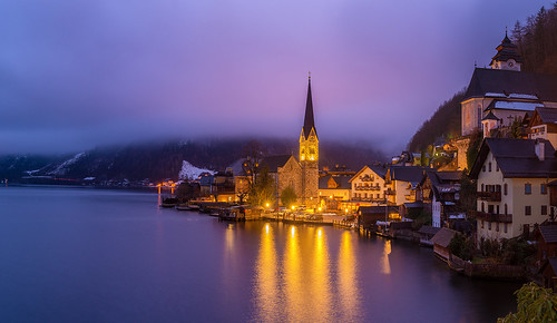 hallstatt austria bluehour blue sunrise pano panorama panoramic village church clouds reflections