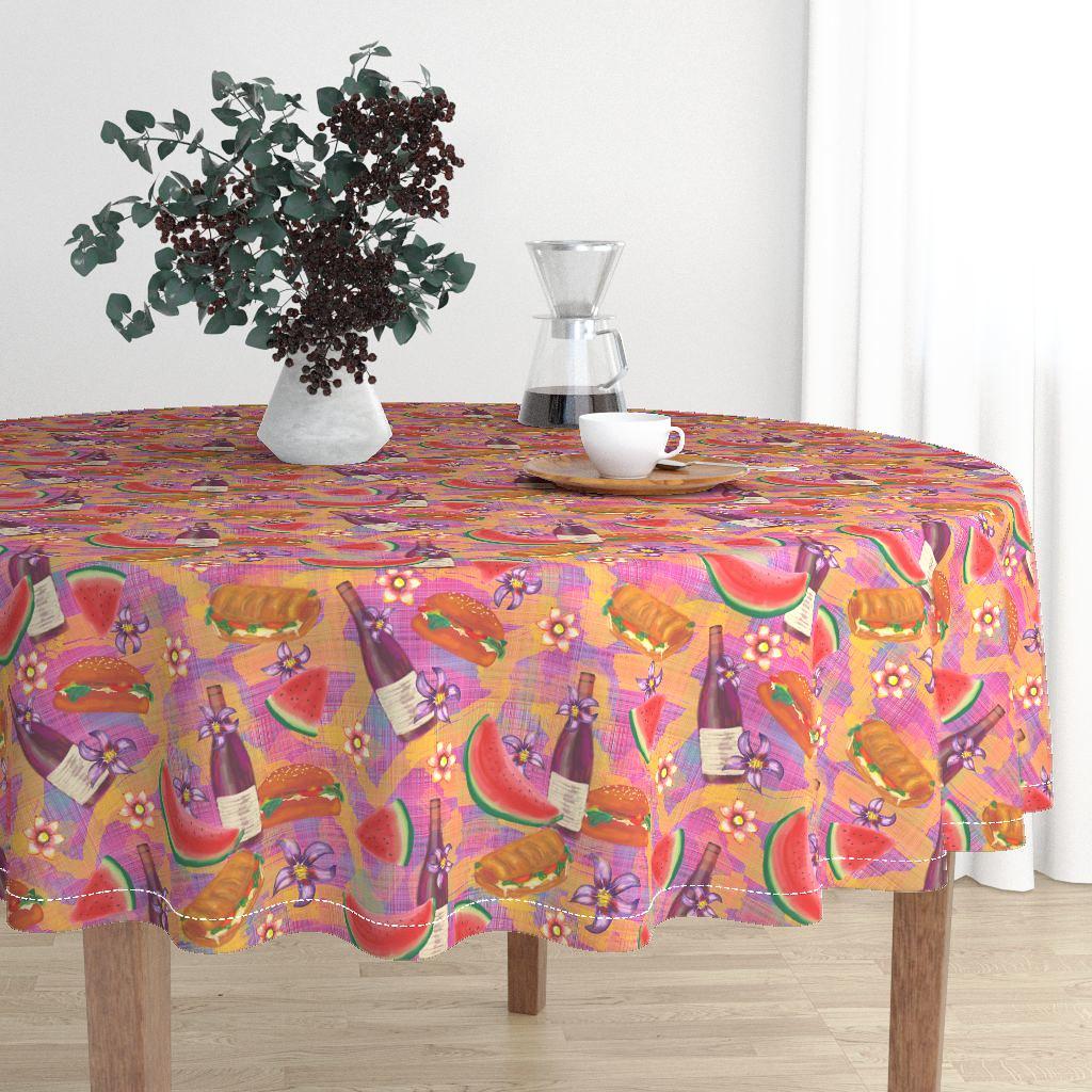 watermelon summer picnic original tableclothl by FloweryHat