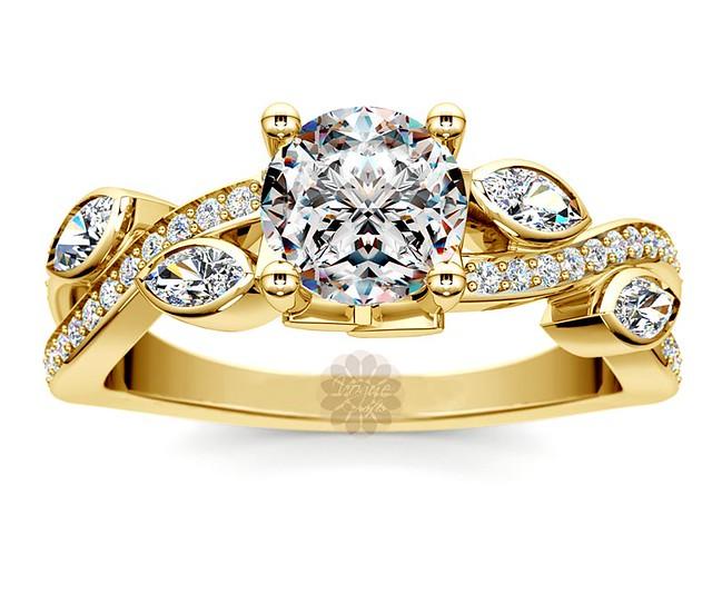 Twisted Leaf Diamond Ring