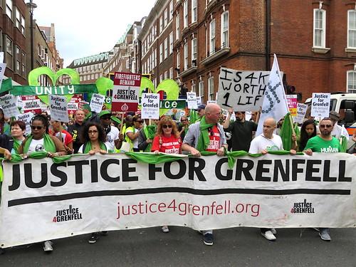 Justice for Grenfell banner, Westminster