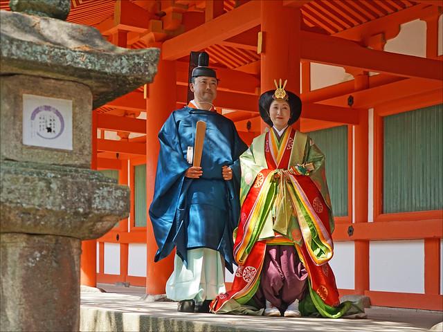 Mariage en costumes de cour de l'époque Heian (Kyoto)