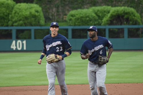 Christian Yelich and Lorenzo Cain | by IDSportsPhoto