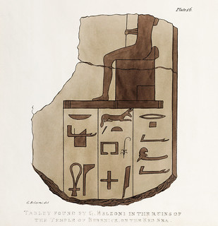 Plate 16 : Tablet of brecchia stone with Hieroglyphics illustration from the kings tombs in Thebes by Giovanni Battista Belzoni (1778-1823) from Plates illustrative of the researches and operations in Egypt and Nubia (1820).