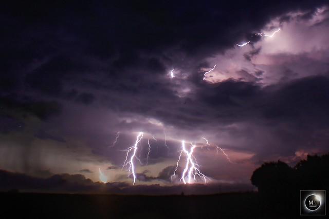 Lightning - Stack of 3 images taken around 22:40 BST 31/05/18