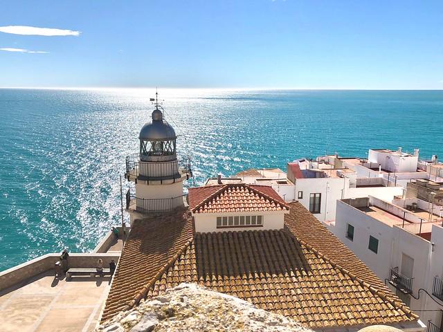 Peniscola Lighthouse. Peniscola, Castellon, Spain