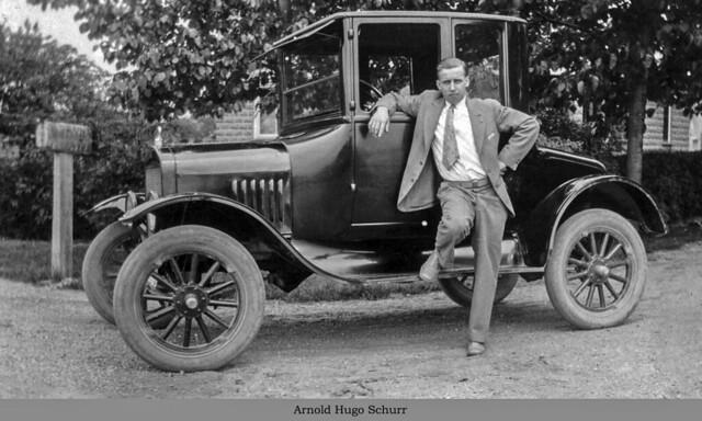 1923 or so - Schurr, Arnold Hugo leaning on car