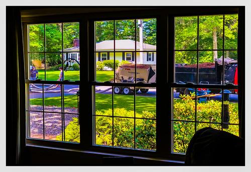 2018 wednesday landscape window 0618 people truck mulch home eastbridgewater massachusetts unitedstates us