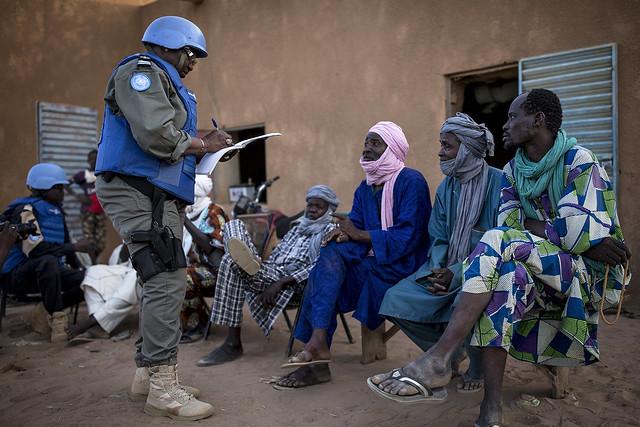 Peacekeepers with MINUSMA on patrol in Menaka