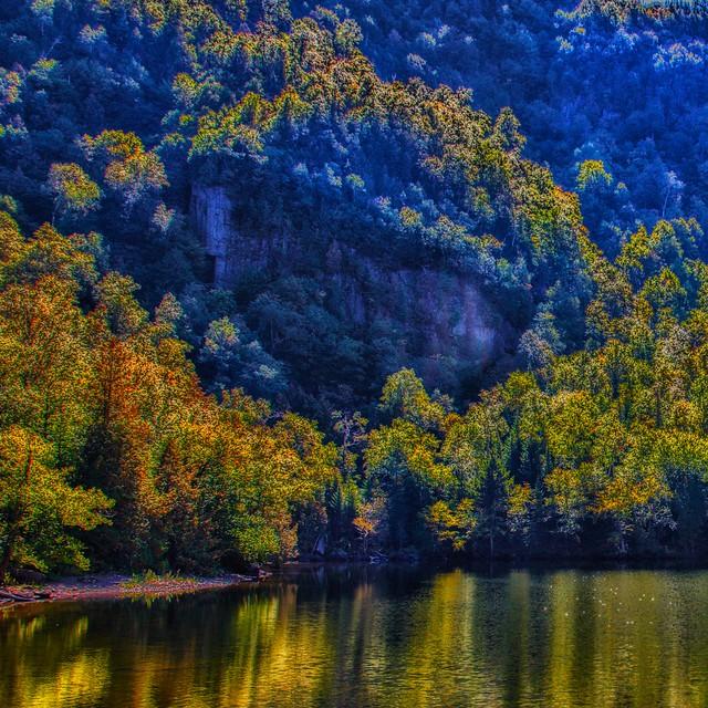 Lake Placid New York  ~ Ausable River at Franklin Road Bridge - Autumn Colours