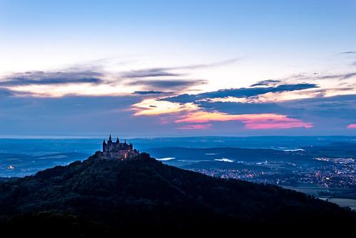 castle hohenzollern sunset dark hill blue germany sky
