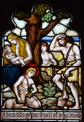 Adam and Eve with Cain, Abel and Seth (Isaac Alexander Gibbs, 1880s)