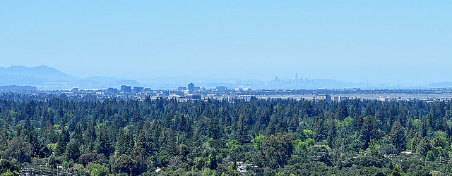Redwood Shores, San Francisco and Bay Bridge, California