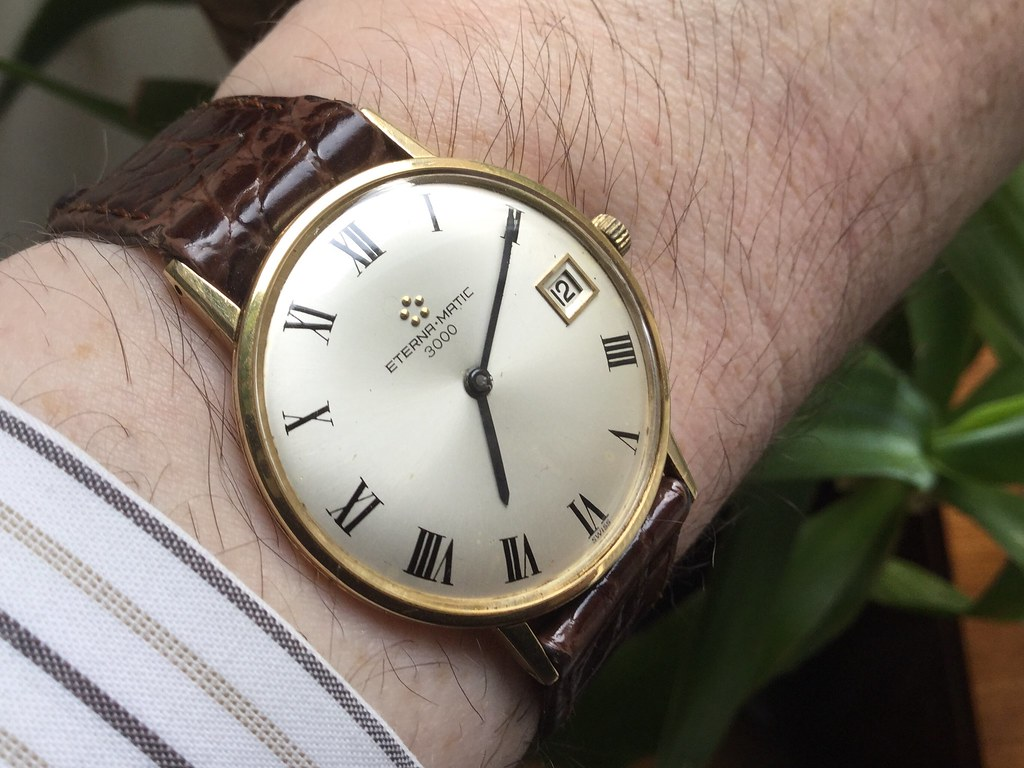18ct Eterna-matic 3000, calibre 1500k, from 1971.