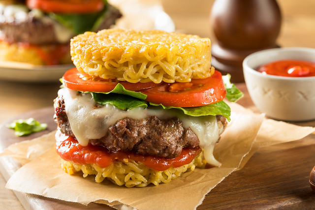 Homemade Ramen Cheese Burger