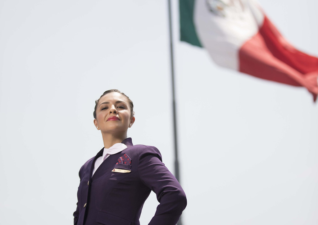 6577965a8b70a7 ... Mexico  Airport Customer Service agent in Passport Plum suit