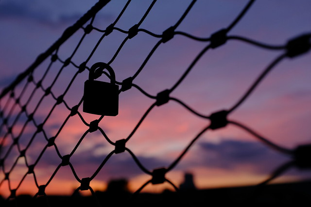 Love lock in sunset