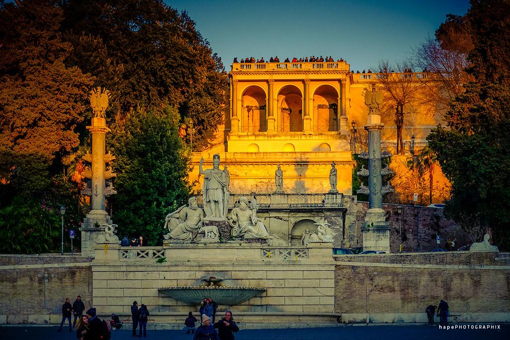 Fontana Della Dea Di Roma E Terrazza Del Pincio Piazza Del