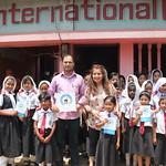 Malini w/ Principal & girl students & Swim Safety Cox
