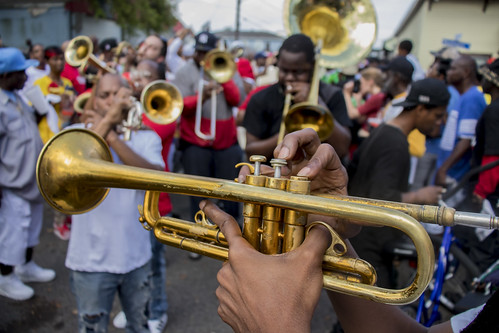 TBC Brass band in the streets. Photo by Jamell Tate.