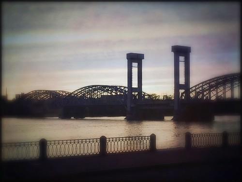 sunset nevariver peterthegreatbridge bridge stpetersburg russia