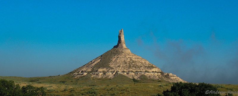 Chimney Rock as the morning fog burns off