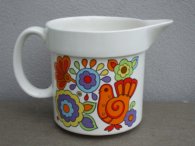 Vintage 1970's Colourful Lord Nelson Pop Art Gaytime Pottery Milk Jug Made in England
