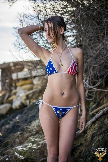 American Flag Swimsuit Bikini Model Goddess! Happy 4th of July Bikini Surf Girl! Stars & Stripes Forever Swimsuit Model! Red, White, & Blue USA Flag Swimsuit Model on Malibu Beach!