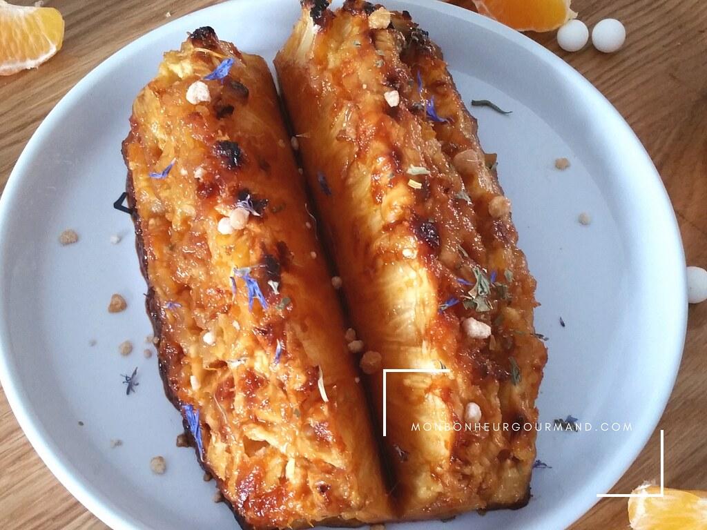 ananas roti au sirop d'érable et basilic - mon bonheur gourmand