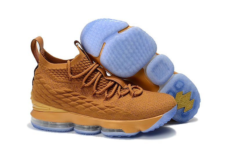733a92dde73 Cheap LeBron James Debuts Gold Nike LeBron 15 Custom from The Shoe Surgeon  - www.