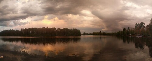 sunset bass lake upper peninsula michigan marquette county forsyth township sky clouds